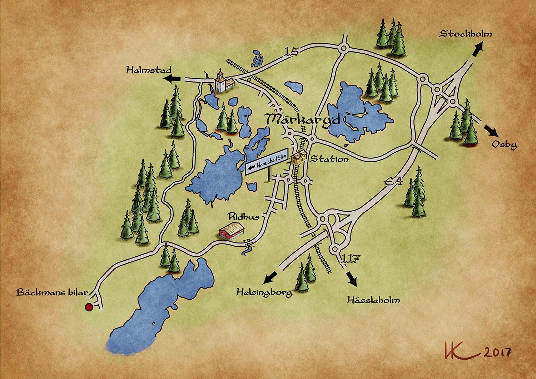 karta till hannabad och bäckmans bilar